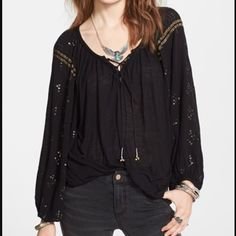 "Free People ""Golden Nugget"" Top NWT Free People ""Golden Nugget"" embellished top. 100% rayon. Machine wash cold, lay flat to dry. No trades or Paypal please. Free People Tops"