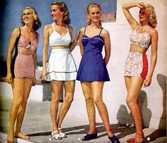Vintage swimsuits, 40s.