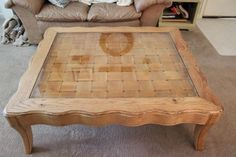 $75 Large wooden coffee table with glass top would offer 50 sell for 100-150
