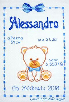 Discover recipes, home ideas, style inspiration and other ideas to try. Baby Cross Stitch Patterns, Cross Stitch Baby, Cross Stitch Charts, Cross Stitch Letters, Baby Disney, Chain Stitch, Le Point, Embroidery Stitches, Needlepoint