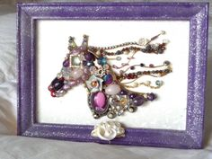 Gift Idea Framed Jeweled Horse Vintage and by JailbirdJunque Jewelry Tree, Jewelry Ideas, Jewelry Design, Vintage Jewelry Crafts, Horse Gifts, Adult Crafts, Beading Projects, Button Crafts, Jewelry Findings