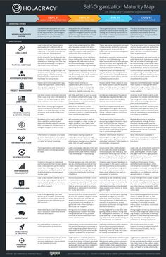cyberlabe: Holacracy - Self-Organization Maturity Map The map describes what 15 areas of organizational life look like depending on whether the actual practices sabotage, stabilize, enhance or evolve the Holacracy Operating System.