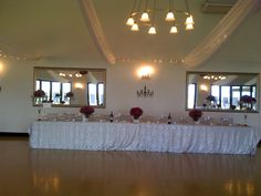 the chandeliers on the wall behind the main table Beautiful Day, Chandeliers, Table Decorations, Wall, Wedding, Home Decor, Transitional Chandeliers, Valentines Day Weddings, Decoration Home