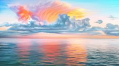 Heavenly crown by exobiology Magic Hour, Landscape Drawings, Fantasy Landscape, 3 D, Paradise, Scenery, Clouds, Heavenly, Abstract