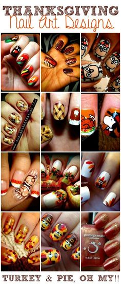 Nice nail ideas for Thanksgiving. - Most Trending Nail Art Designs in 2018 Cute Nail Art, Beautiful Nail Art, Cute Nails, Thanksgiving Nail Designs, Thanksgiving Nails, Holiday Nail Art, Halloween Nail Art, Fall Nail Designs, Cute Nail Designs