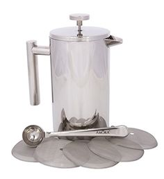Amora 8cup Stainless Steel French Press Coffee Maker  FREE Coffee Spoon  5 Mesh Filters * You can get additional details at the image link. (This is an Amazon Affiliate link)
