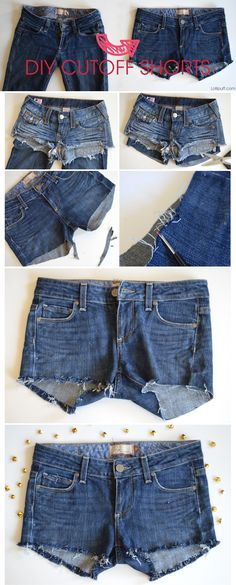 DIY cut-off shorts! We all have at least one pair of jeans that we haven't worn in a while and probably won't for even longer. I decided to make a pair of cut-off shorts out of some old bootcut jeans.