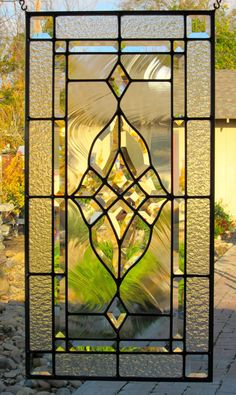 Elegant Beveled Cluster Stained Glass Window by DebsGlassArt