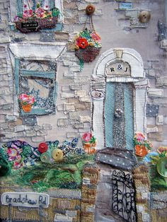 ♒ Enchanting Embroidery ♒ embroidered English cottage garden