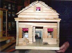 Cabin - Lighted cabin handmade furniture / fireplace/   MindDesigns - Folk Art & Primitives on ArtFire