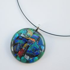 Large handmade fused glass pendant necklace - purple green red gold blue multi dichroic glass - UK designer maker by BlueBoxStudio on Etsy