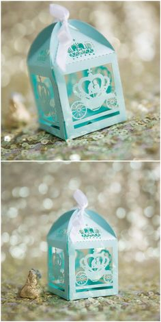 Disney fairy tale themed Tiffany blue pumpkin coach laser cut wedding favor box ideas