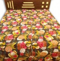 Get wonderful fruit print kantha bed cover at low price from handicrunch. The fabric is very softly quieted with bold and colorful prints on this bed cover.