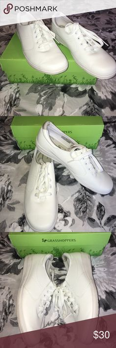 Nursing shoes Bought these for my nursing graduation. We had to wear all white lol. Worn once and they're so deliciously comfortable. Haven't worn them because I'm not into white shoes. Good for any profession that requires being on your feet all day long. grasshoppers Shoes Athletic Shoes