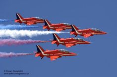 """The Royal Air Forse Aerobatic Team (RAFAT), """"The Red Arrows"""" practicing their display manoeuvres over RAF Akrotiri, Cyprus."""