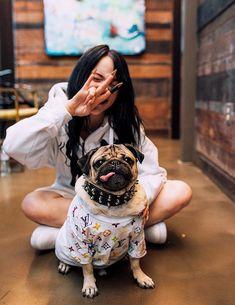 Billie Eilish — billie and doug the pug! Doug The Pug, Queen, My Idol, Ariana Grande, Ikon, Justin Bieber, Celebs, My Love, Singers