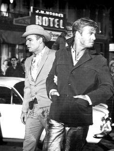 1966. Marlon Brando and Robert Redford.