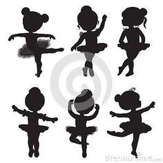 Grupo do vetor de silhuetas de bailarinas pequenas