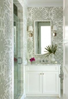 Bathroom featuring Quadrille china Seas Sigourney Wallpaper Gray on White (Traditional Home) Powder room White Bathroom, Small Bathroom, Master Bathrooms, Modern Bathroom, Peach Bathroom, Tropical Bathroom, Neutral Bathroom, Ikea Bathroom, Bathroom Basin