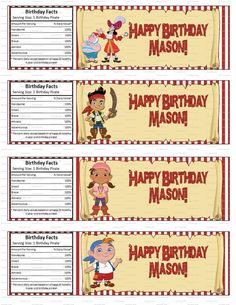 Jake and the Neverland Pirates Birthday Party Water Bottle Labels. $2.99, via Etsy.