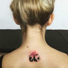 Cute Watercolor Panda Back Tattoo Idea