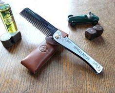 Design And Fresh Thinking Limited Edition Man Comb 'Black' With Leather Case