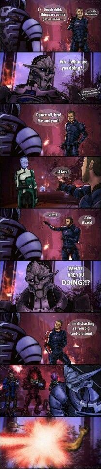 Guardians of the Galaxy in Mass Effect.  This should have been a dialogue choice there!
