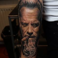arnold schwarzenegger color portrait tattoo by Qtattoos. colour realism tattoo