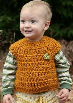 9-12 Month Autumn Pumpkin Bulky Crossover Button…, de Laura Hooker. http://www.ravelry.com/patterns/library/9-12-month-autumn-pumpkin-bulky-crossover-button-up-crochet-vest-pattern