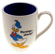 """Disney Donald Duck Coffee Mug Mornings. Mug is white (outside) with image of Donald Duck and """"Mornings."""" written next to Donald's Picture The inside of the mug is Blue and it says """"D Pato Donald Y Daisy, Donald Duck, Baymax, Angry Duck, Mickey Mouse Images, Disney Coffee Mugs, Disney Cups, 3d Paper Art, Disney Kitchen"""