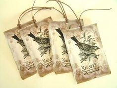 Vintage Bird Tags- pack of 4 by PaperMoon for $4.00 #zibbet #rustic
