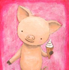 Original Illustration Painting on Wood Cute Pig with Ice Cream (Pink & Purple) by MiKa Art $34.99, via Etsy.