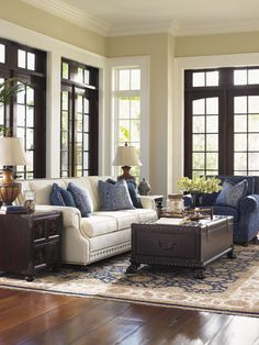 This is the color scheme I was thinking (instead of an ivory sofa, I like oatmeal). Island Traditions Devon Sofa | Lexington Home Brands