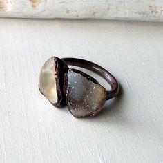 Copper Ring Topaz Crystal Cream Druzy Geode by MidwestAlchemy, $75.50