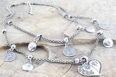 Lagenlook Jewellery Two Row Silver Metal Heart Charm Necklace