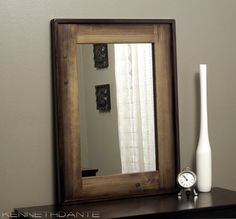 Wood Frame Mirror in Dark to Light Brown with Dowel Accents via Etsy