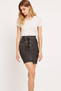 Urban Renewal Vintage Surplus Lee Black Denim Pencil Skirt - Urban Outfitters