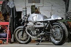 Turbo Moto Guzzi by Hellmich Customs and Classics Guzzi Bobber, Moto Guzzi Motorcycles, Guzzi V7, Moto Bike, Vintage Motorcycles, Custom Motorcycles, Scrambler, Custom Bikes, Big Boyz