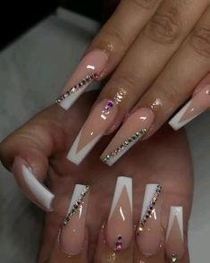 Acrylic Nails Coffin Pink, French Tip Acrylic Nails, Long Square Acrylic Nails, Coffin Shape Nails, Summer Acrylic Nails, Acrylic Nail Designs, Summer Nails, Bling Nails, Swag Nails