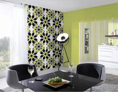 modern bloemen behang groen zwart wit 8830-18