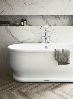 Hamptons bath (South Beach and St Ives tiles) http://www.firedearth.com/bathrooms/type/baths/hamptons-freestanding-bath