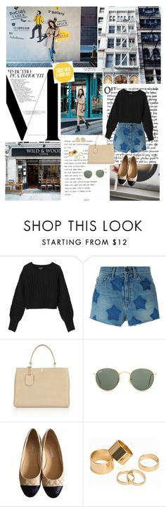"""""""Hey boy I wanna see If you can go downtown with a girl like me"""" by ita-varela ❤ liked on Polyvore featuring Coffee Shop, Prada, Monki, Yves Saint Laurent, Balenciaga, Ray-Ban, Chanel, Pieces and Magdalena Frackowiak"""