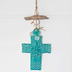 clay decor cross small turquoise