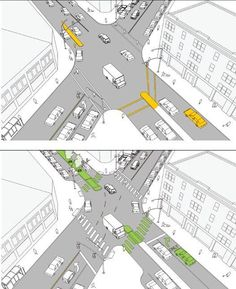 Street diet makes for more pedestrian-friendly streets in NYC's Dept of Transportation's new guide. Click image for link to full document and visit the slowottawa.ca boards >> https://www.pinterest.com/slowottawa/