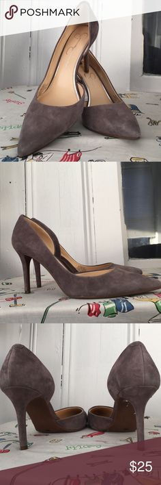 Gray suede heels These are a reposh and I am super sad they don't fit... just a wee too big on me, are in basically flawless condition, seller described them as worn once and there is no noticeable wear to them. Just the perfect shade of gray and so elegant and classy. Sad to have to sell. Had been looking for a pair like this for long time. My loss is your gain. Comes with box. Price FIRM. Jessica Simpson Shoes Heels