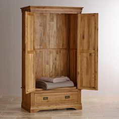 French Farmhouse Rustic Solid Oak Double Wardrobe hand crafted with dovetailed joints. With ample hanging space for your clothing it's a fine addition to any bedroom. Free delivery.