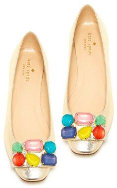 amazing gilded jeweled flats by kate spade