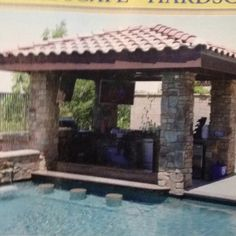Love the pool seating. Wonder if when we redo our backyard we can dig down for the BBQ area.