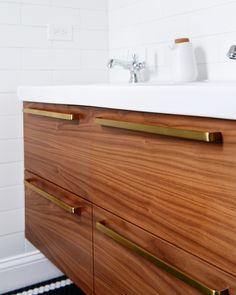 When we first started thinking about the finishes we'd like in our bathroom, we weren't always on the same page. Scott is a big fan of polished chrome; as he's said before, that shiny finish is like a pair of your favorite blue jeans - always in style. While I agree, it's no secret that I…
