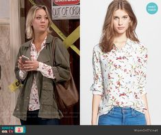 Penny's white floral shirt on The Big Bang Theory. Outfit Details: https://wornontv.net/56023/ #TheBigBangTheory